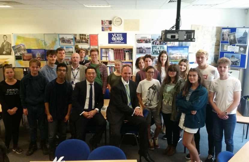 Alan Mak and Gavin Barwell with the Year 13 politics students from Havant Sixth Form College