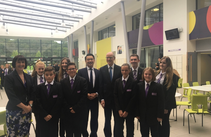 Alan Mak MP with Schools Minister Nick Gibb and Havant Academy pupils