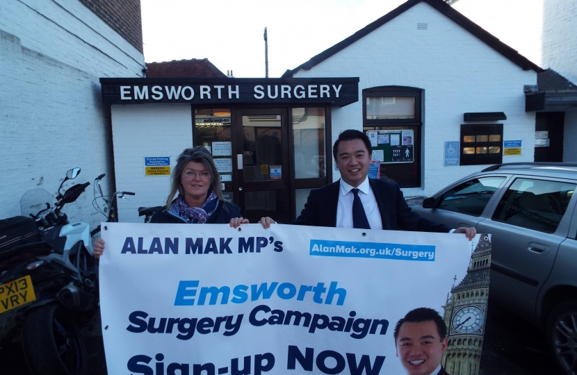 Picture 2: Alan Mak MP with Sue Treagust from the Emsworth Business Association