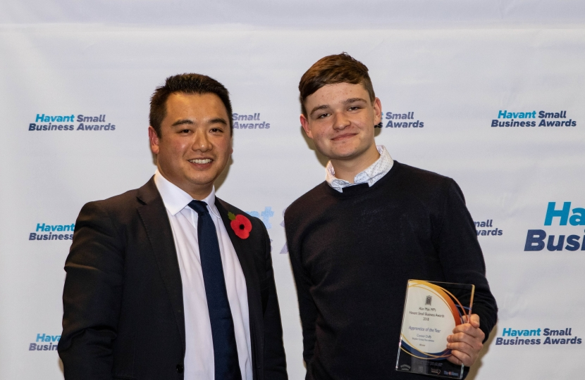 Alan with Connor Duffy, 2018's Apprentice of the Year