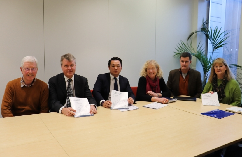 Picture: Alan Mak MP with local councillors and Cllr Sean Woodward, HCC Cabinet member with responsibility for libraries