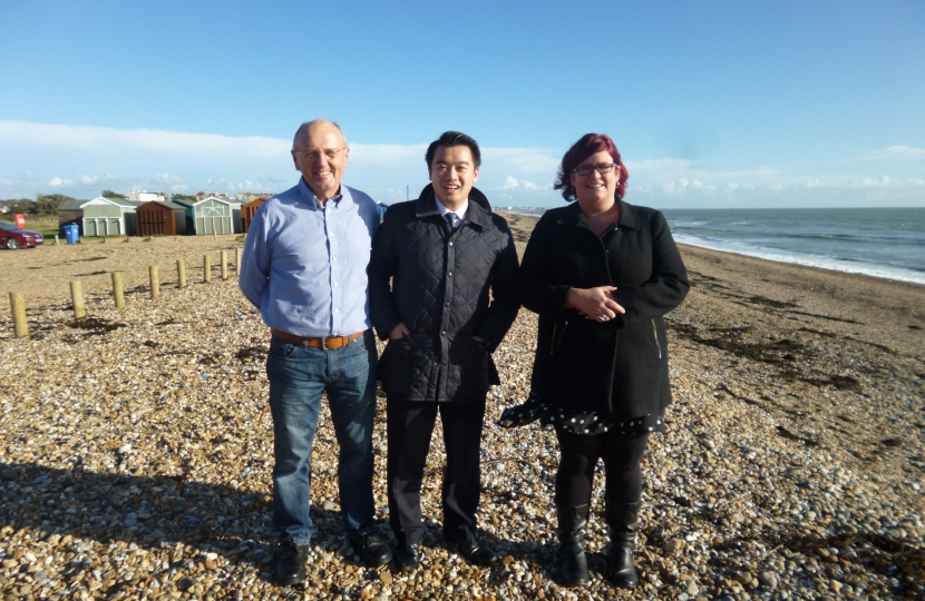 Alan Mak with Hayling councillor Andy Lenaghan & candidate Clare Satchwell